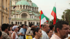 People during on anti-government protests in Sofia, Bulgaria  Stock Footage