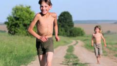Country Boys.Rural children. Stock Footage