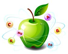 apple with vitamins - stock illustration