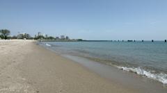 Chicago beach on Lake Michigan HD Stock Footage