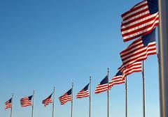 US flags near Washington Monument Stock Photos