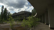 "Stock Video Footage of Facade of the House of Culture ""Energetic"" in the dead city of Pripyat."