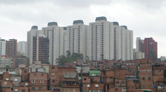 Sao Paulo High rise living towers above slums Stock Footage