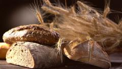Various Bread and Sheaf of Wheat Ears. Dolly shot. Full HD 1080p Stock Footage