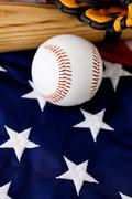 Stock Photo of baseball: baseball equipment with copyspace below