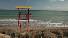 Lifeguard watching tower chair Stock Footage