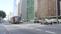 Sao Paulo Low view of traffic and tower blocks Stock Footage