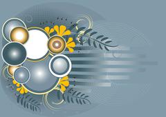 Abstract gray background with yellow flowers and sphere. Stock Illustration