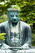 the great buddha (daibutsu) on the grounds of kotokuin temple in kamakura, ja - stock photo