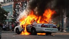 Police car on fire with electrical explosion - HD 1080p Stock Footage
