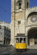 Historic classic tram of the capital of Portugal,Lisbon,Europe Stock Photos