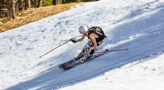 woman skier off-piste - stock photo