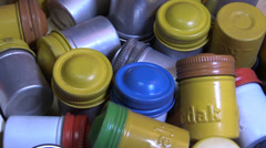 35 mm film cans rotating Stock Footage