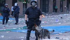 K9 officer with gas mask at riot - HD 1080p Stock Footage