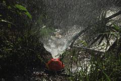 closeup of garden sprinkler and hose in garden - stock photo