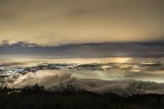 Foggy night over Varese city, Lombardy - stock photo