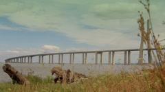 Vasco da Gama Bridge, Lisbon Stock Footage