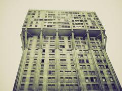 Stock Photo of Vintage sepia Torre Velasca brutalist architecture Milan