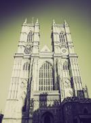 Vintage sepia Westminster Abbey - stock photo