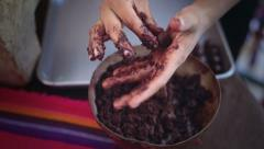 Elaboration of handmade chocolate Stock Footage