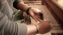 Close-up view of handloom weaver hands Stock Footage