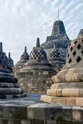 borobudur temple stupas, yogyakarta, java island, indonesia - stock photo