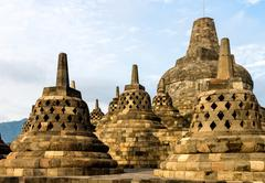 Borobudur temple stupas, yogyakarta, java island, indonesia Stock Photos