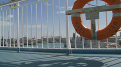 Life saving ring dolly, Portsmouth harbour Stock Footage
