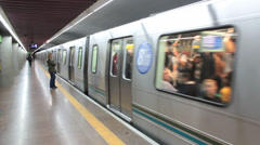 Passengers at the Subway Station - Sao Paulo, Brazil Stock Footage