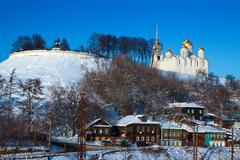 Vladimir downtown from river side in winter Stock Photos