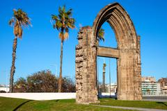Original arc gate of the Carmelite Convent of Barcelona - stock photo