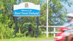 Welcome to the Royal Naval Dockyard in Bermuda Stock Footage