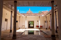 courtyard and reflecting pool - stock photo