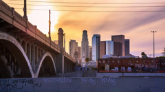 4K. Los Angeles city. Sunset over downtown LA skyline. Timelapse hyperlapse. - stock footage