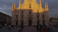 Medium shot/pan up of Duomo di Milano / Milan, Italy Stock Footage