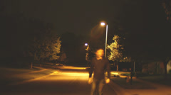 Creepy figure walking mysterious Stock Footage
