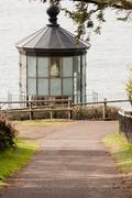 lighthouse tower frosted glass fresnel lens cape meares pacific coast - stock photo