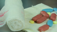 Pills on Gauze Bandage Stock Footage