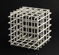 lattice cube on a black background - stock photo
