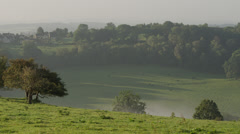 Wide shot of lush, green countryside / Westwood, England, United Kingdom Stock Footage