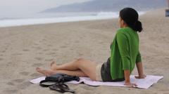 Girl on Beach Stock Footage
