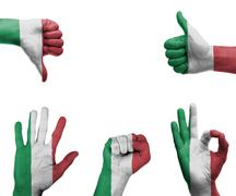 Hand set with the flag of italy Stock Photos