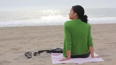 Girl on beach sunset Stock Footage