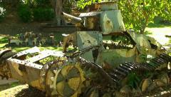 Vintage military tanks and guns from World War II on Saipan Island. Stock Footage