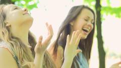 Joyful teen girls having fun outdoors. Slow motion 240 fps. Full HD 1080p Stock Footage