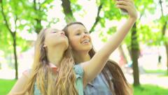 Teenage girls making selfie. Slow motion 240 fps. Full HD 1080p Stock Footage