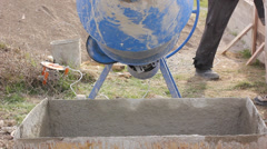 Cement mixer or concrete mixer Stock Footage
