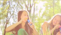 Beauty teen girls having fun outdoors. Slow motion video footage 1080p full HD - stock footage