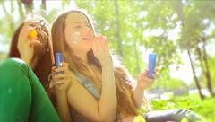 Beauty teen girls having fun outdoors. Slow-mo. Full HD 1080p - stock footage