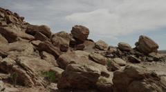 Panning shot of rocks at San Raphel Swell / San Raphel Swell, Utah, United - stock footage